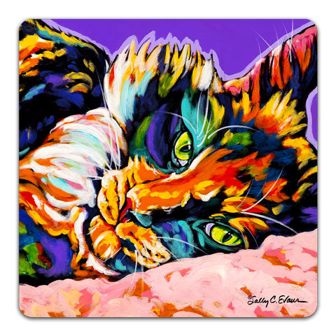 """Cat Calico Dream"" Drink Coaster by Sally Evans"