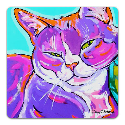 """Cat Dozing"" Drink Coaster by Sally Evans"