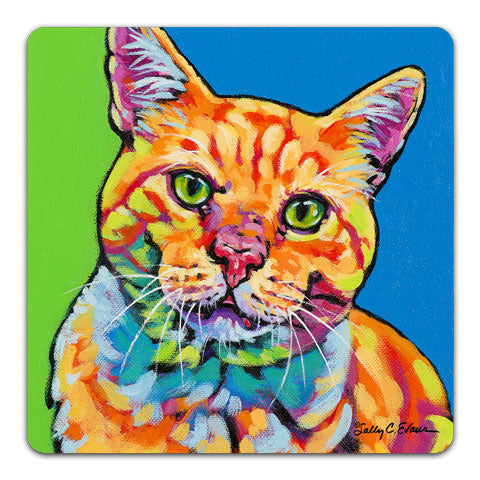 """Cat OG"" Drink Coaster by Sally Evans"