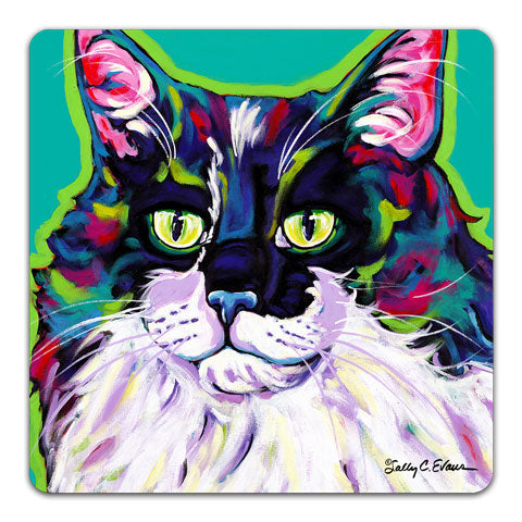 """Cat Tabby"" Drink Coaster by Sally Evans"