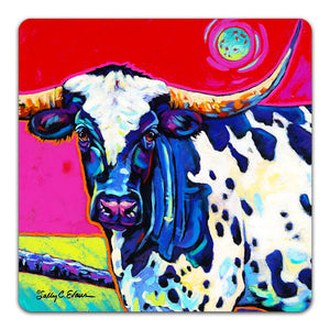 SE1-118-Long-Horn-Cow-Ranch-Southwest-Sun-Table-Top-Coaster-by-Sally-Evans-and-CJ-Bella-Co