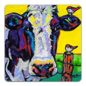SE1-119-Cow-Pasture-Friends-Birds-Fence-Table-Top-Coaster-by-Sally-Evans-and-CJ-Bella-Co
