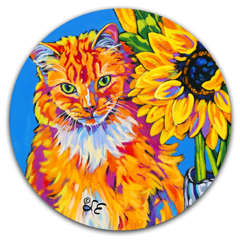 SE2-101-Orange-Cat-Sunflower-Car-Coaster-by-Sally-Evans-and-CJ-Bella-Co