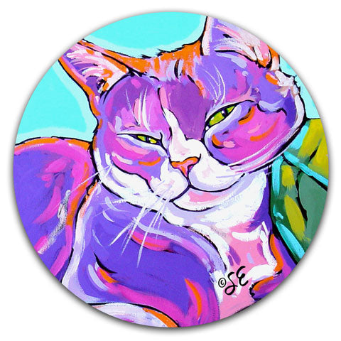 SE2-106-Cat-Lazy-Lounging-Car-Coaster-by-Sally-Evans-and-CJ-Bella-Co