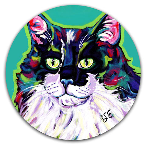 """Cat Tabby"" Car Coaster by Sally Evans"