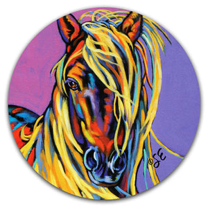 SE2-112-Horse-Blonde-Blondie-Car-Coaster-by-Sally-Evans-and-CJ-Bella-Co