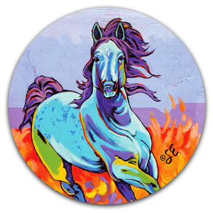 SE2-115-Horse-Running-Wind-Fire-Blue-Car-Coaster-by-Sally-Evans-and-CJ-Bella-Co