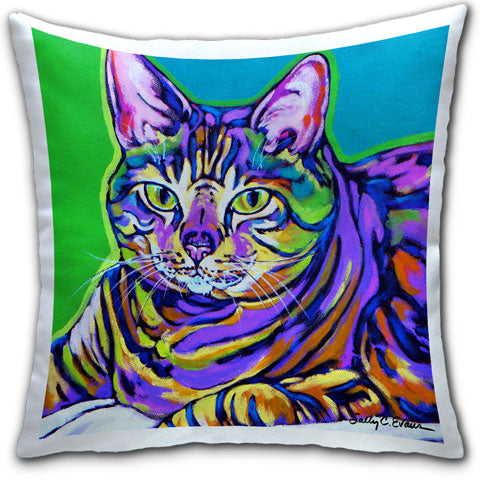 """Cat Misha"" Pillow by Sally Evans"