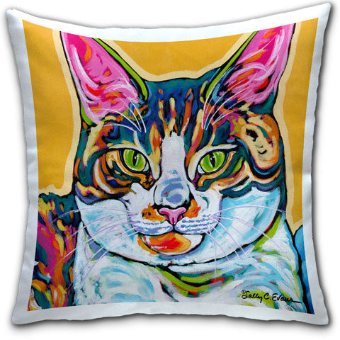 """Cat Charlie"" Pillow by Sally Evans"