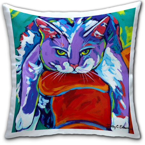"""Cat Hang 10"" Pillow by Sally Evans"