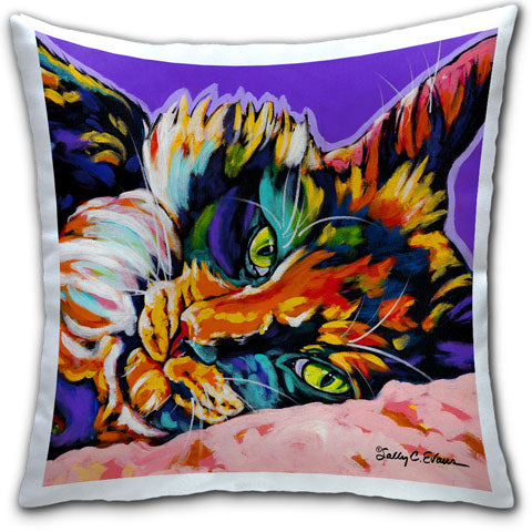 """Cat Calico Dream"" Pillow by Sally Evans"
