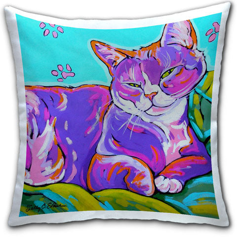 """Cat Dozing"" Pillow by Sally Evans"