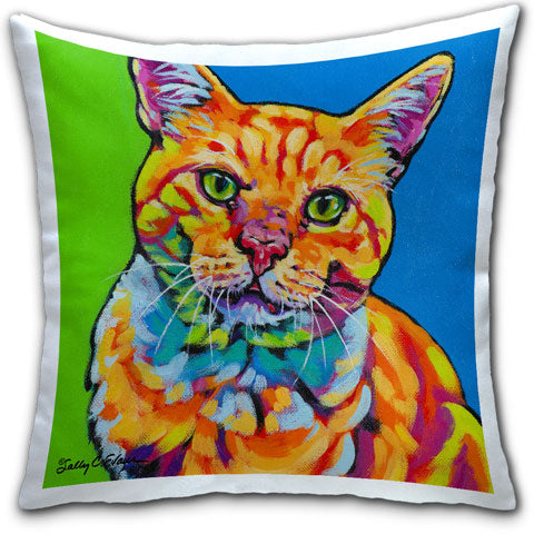 """Cat OG"" Pillow by Sally Evans"