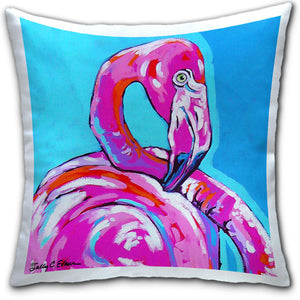 """Flamingo"" Pillow by Sally Evans"