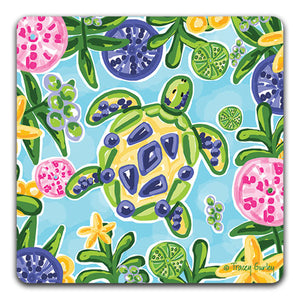 """Blue and Yellow Sea Turtle"" Drink Coaster by Tracey Gurley - CJ Bella Co."