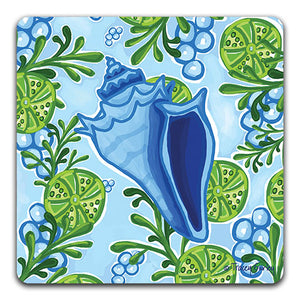 """Blue Conch Shell"" Drink Coaster by Tracey Gurley - CJ Bella Co."