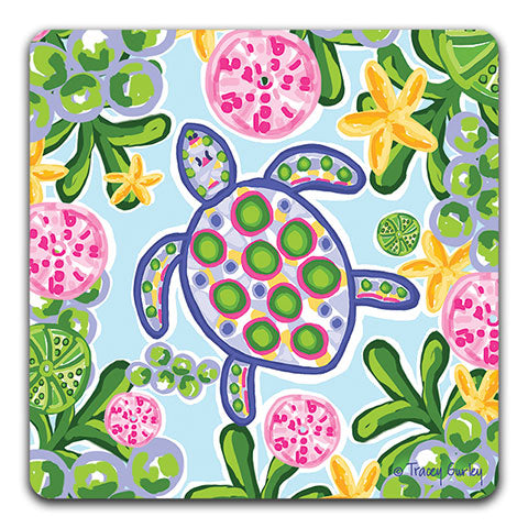 """Blue and Pink Sea Turtle"" Drink Coaster by Tracey Gurley"