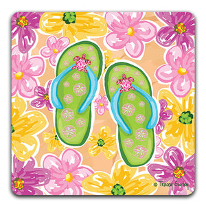 """Green Flip Flops"" Drink Coaster by Tracey Gurley - CJ Bella Co."