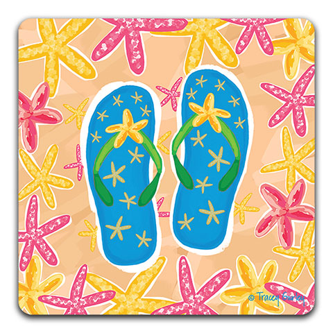"""Blue Flip Flops"" Drink Coaster by Tracey Gurley"