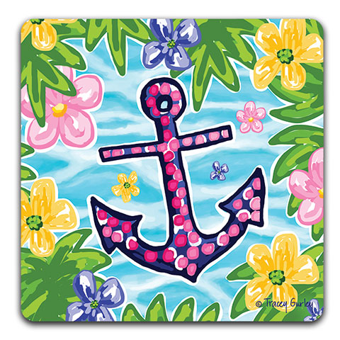 """Blue and Pink Anchor"" Drink Coaster by Tracey Gurley"