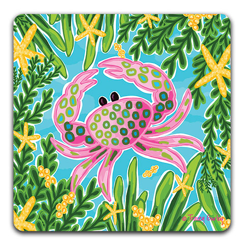 """Pink Crab"" Drink Coaster by Tracey Gurley"