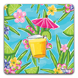"""Pink Umbrella Drink"" Drink Coaster by Tracey Gurley - CJ Bella Co."