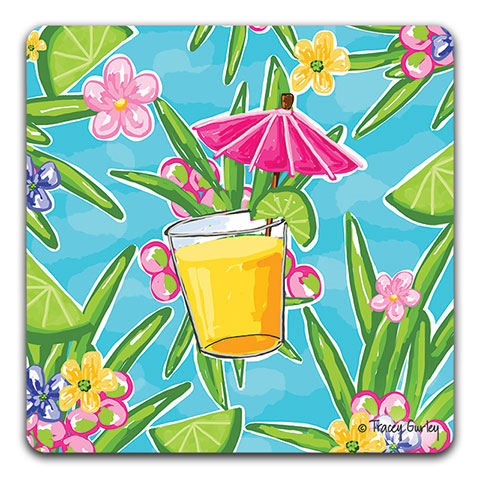 """Pink Umbrella Drink"" Drink Coaster by Tracey Gurley"