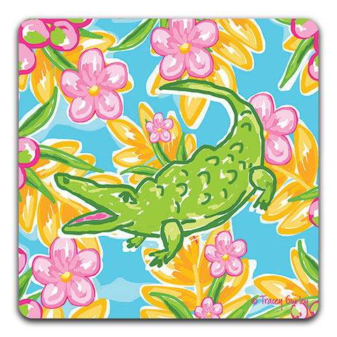 """Preppy Alligator"" Drink Coaster by Tracey Gurley"