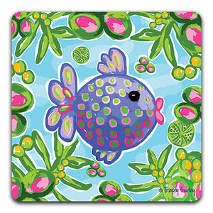 """Tropical Fish"" Drink Coaster by Tracey Gurley - CJ Bella Co."