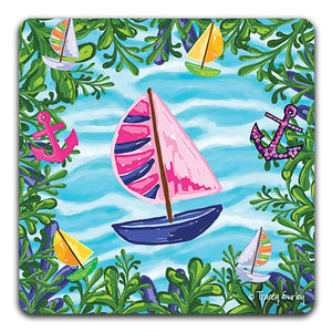 """Blue Sailboat"" Drink Coaster by Tracey Gurley - CJ Bella Co."