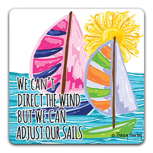 """Blue Sailboat We Can't Direct"" Drink Coaster by Tracey Gurley"