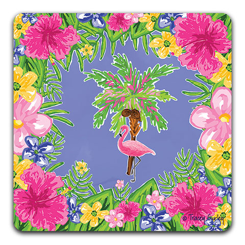 """Flamingo and Palm Tree"" Drink Coaster by Tracey Gurley"