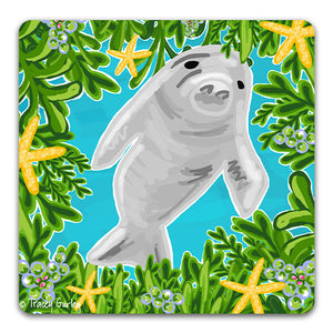 TG125 Manatee Drink Coaster by Tracey Gurley and CJ Bella co