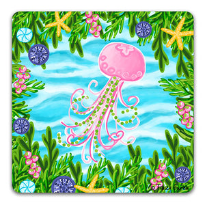 TG129 Jellyfish Drink Coaster by Tracey Gurley and CJ Bella Co