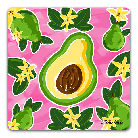 """Avocado"" Drink Coaster by Tracey Gurley"