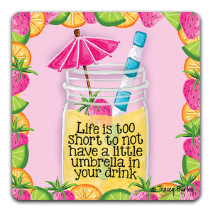 TG132W Lemons Life is too Short Drink Coaster by Tracey Gurley and CJ Bella Co