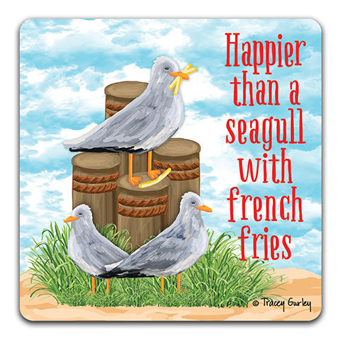 """Seagull Happier than"" Drink Coaster by Tracey Gurley"