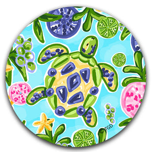 """Blue and Yellow Sea Turtle"" Car Coaster by Tracey Gurley - CJ Bella Co."