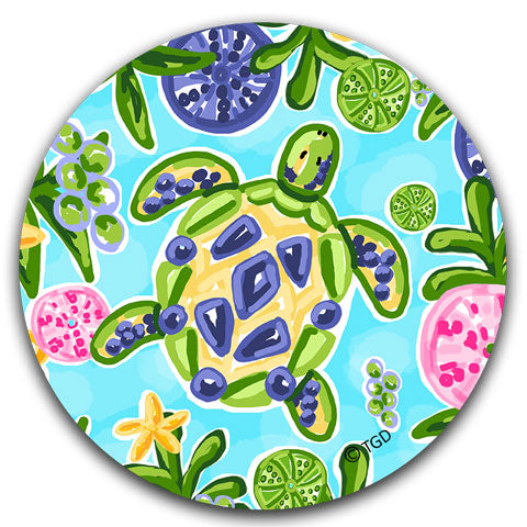 """Blue and Yellow Sea Turtle"" Car Coaster by Tracey Gurley"