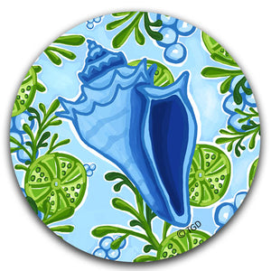 TG202-Blue Conch Shell Car Coaster By Tracey-Gurley and CJ-Bella-Co