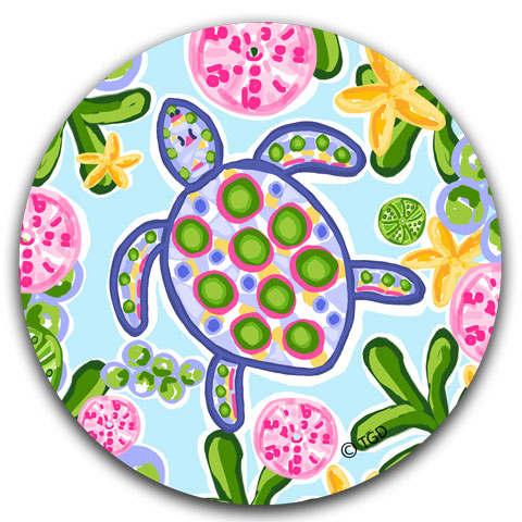 """Blue and Pink Sea Turtle"" Car Coaster by Tracey Gurley"