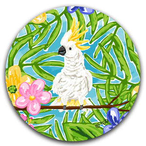"""Cockatoo"" Car Coaster by Tracey Gurley - CJ Bella Co."