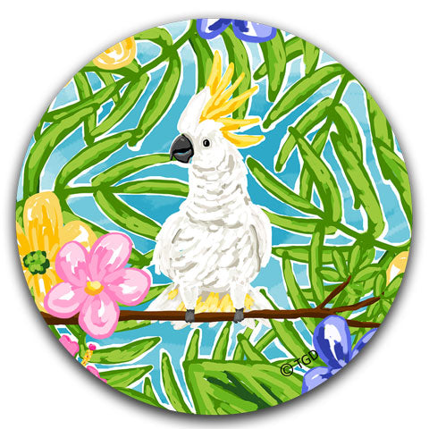 """Cockatoo"" Car Coaster by Tracey Gurley"