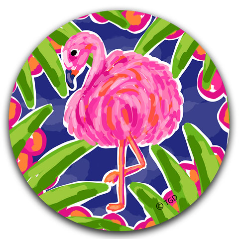 """Flamingo"" Car Coaster by Tracey Gurley"