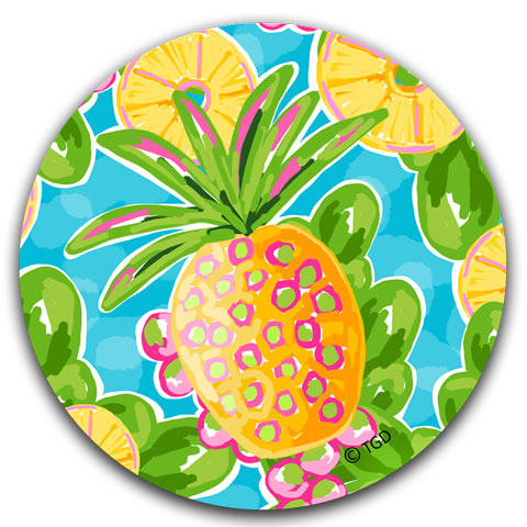 """Pineapple"" Car Coaster by Tracey Gurley"