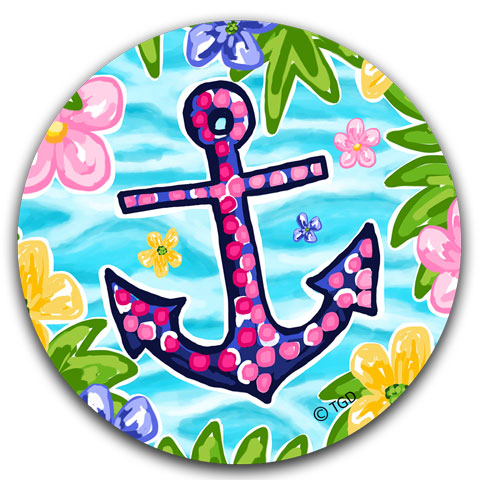 """Blue and Pink Anchor"" Car Coaster by Tracey Gurley"