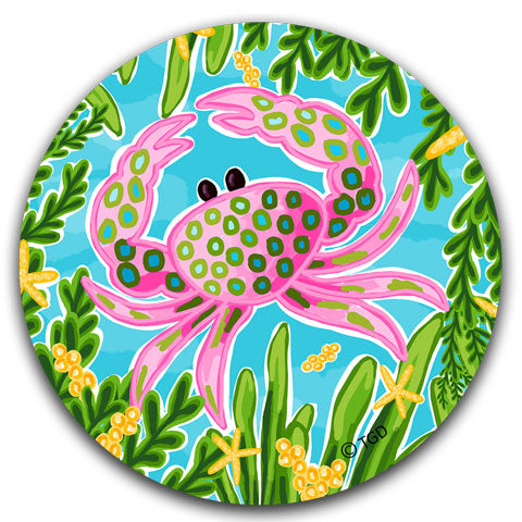 """Pink Crab"" Car Coaster by Tracey Gurley"