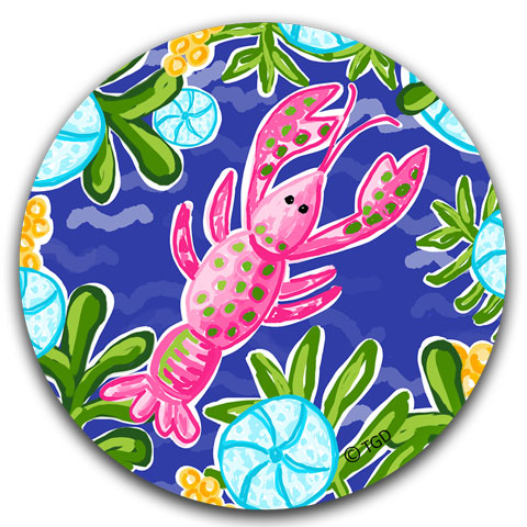 """Pink Lobster"" Car Coaster by Tracey Gurley"