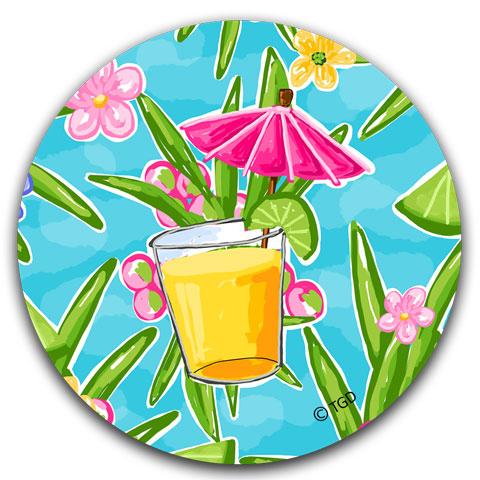 TG215 Pink Umbrella Drink Car Coaster by Tracey Gurley and CJ Bella Co