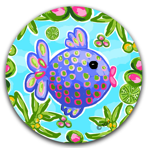"""Tropical Fish"" Car Coaster by Tracey Gurley"